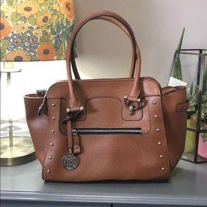 London Fog brown leather satchel handbag purse 👜